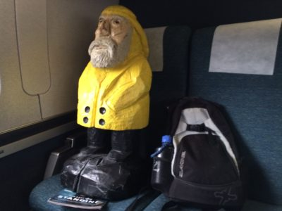 Captain Ahab of Ahab's Adventures getting on the train to NYC 2015