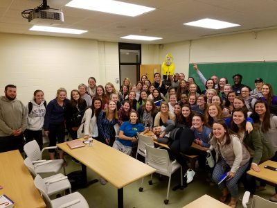 Captain Ahab of Ahab's Adventures making a lot of new friends at Saint Anselm College New Hampshire 2016