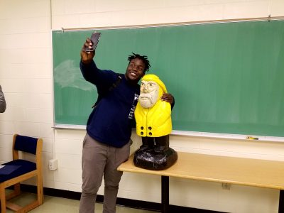 Captain Ahab of Ahab's Adventures making new friends at Saint Anselm College New Hampshire 2016