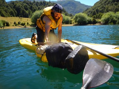 Captain Ahab of Ahab's Adventures having so paddlebaord fun Futaleufu Chile 2017