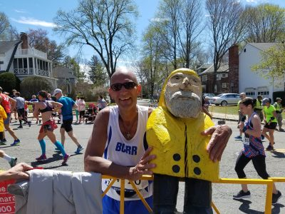 Captain Ahab of Ahab's Adventures supporting our favorite marathon runner in the Boston Marathon in Boston Massachusetts 2017