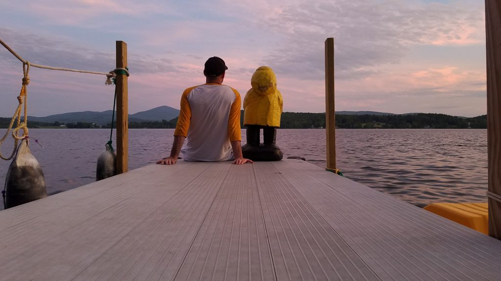 Captain Ahab and Geeg of Ahab's Adventures pondering over Echo Lake Vermont 2019