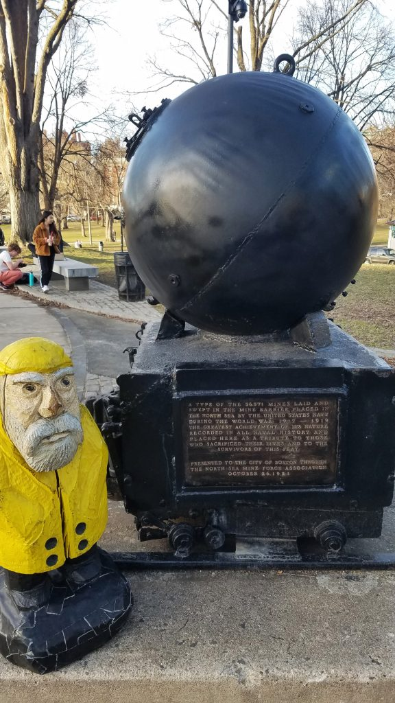 Captain Ahab of Ahab's Adventures walking around Boston Common in winter 2020