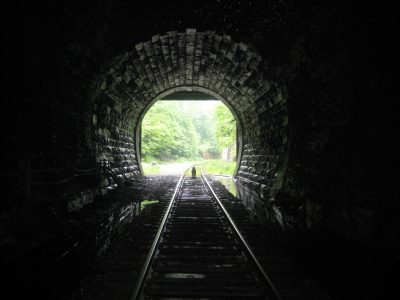 Captain Ahab of Ahab's Adventures in the Hoosac Tunnel at the North Adams Portal in Massachusetts 2015